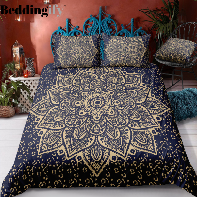Deep Purple Gold Mandala Pattern Bedding Set - Beddingify