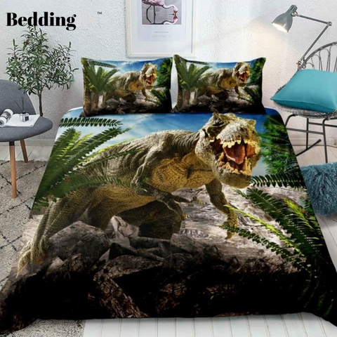 Image of 3D Dinosaur Destroy Park Comforter Set - Beddingify