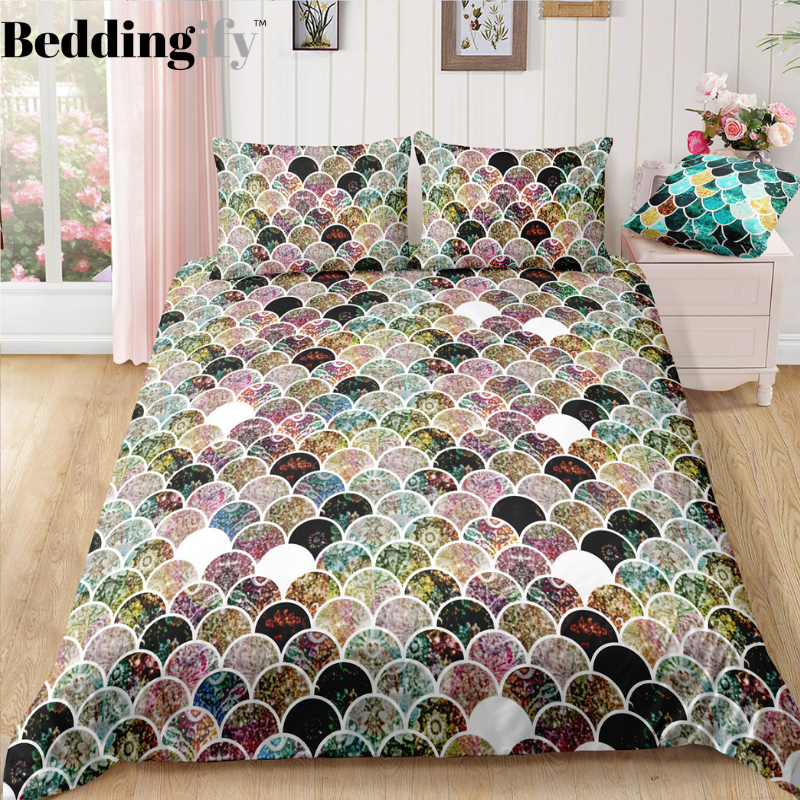 Colorful Mermaid Scale Bedding Set - Beddingify