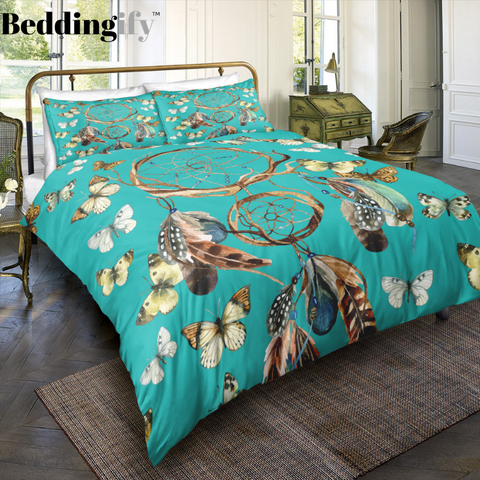 Image of Green Butterflies Dreamcatcher Bedding Set - Beddingify