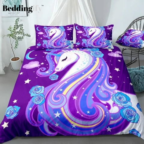 Image of Purple Unicorn with Roses Bedding Set - Beddingify