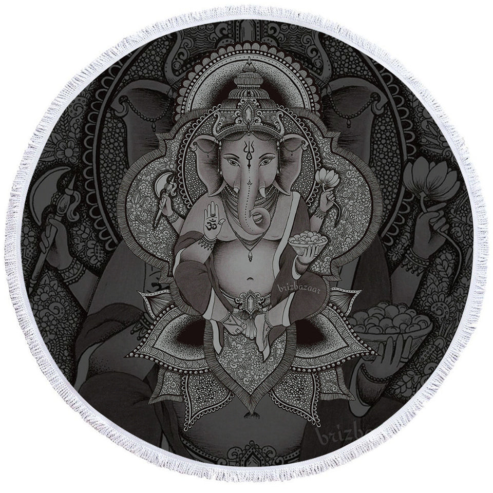 3D B&W Ganesh Round Beach Towel Set - Beddingify