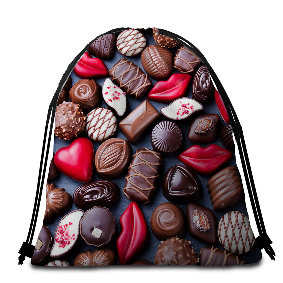 3D Chocolate Pieces Round Beach Towel Set - Beddingify