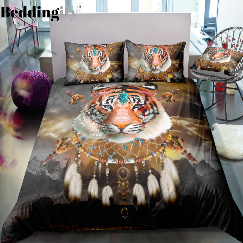 Tribal Dreamcatcher Tiger Bedding Set - Beddingify