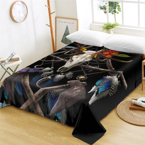 3D Trophy Head Black Flat Sheet - Beddingify