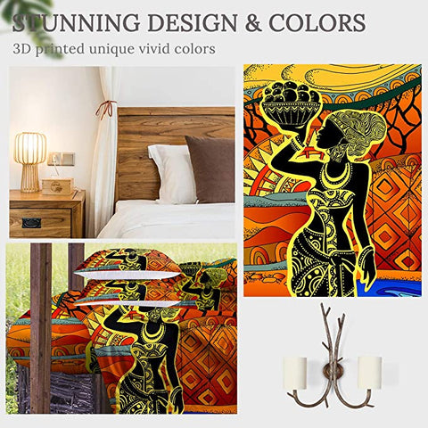 Image of 4 Pieces African Vase Lady Comforter Set - Beddingify