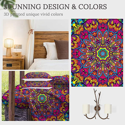 4 Pieces Hypnotizinng Concentric Mandala Comforter Set - Beddingify