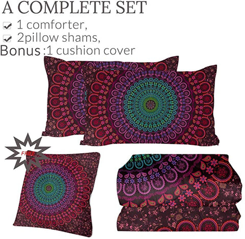 4 Pieces Spiritual Mandala Wheel Comforter Set - Beddingify