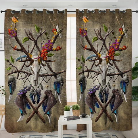 Image of Honored Trophy Head Antlers Old 2 Panel Curtains
