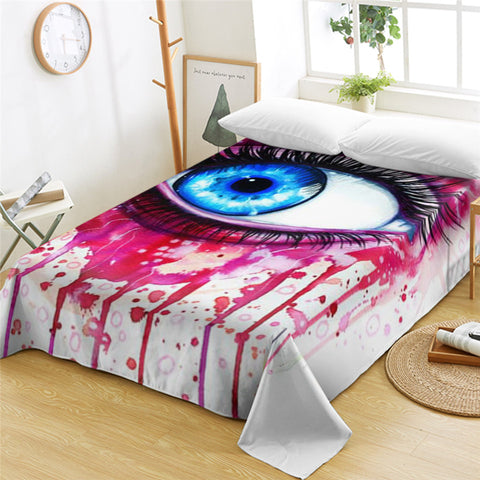 3D Eye Color Drip Flat Sheet - Beddingify