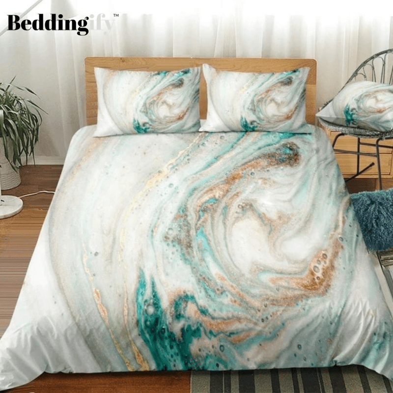 White Cyan Marble Abstract Art Bedding Set - Beddingify