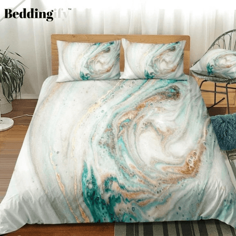 Image of White Cyan Marble Abstract Art Bedding Set - Beddingify
