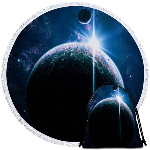 Image of Planet Sight Round Beach Towel Set - Beddingify