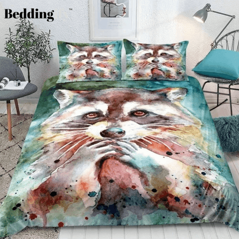 Image of Lovely Raccoon Bedding Set - Beddingify