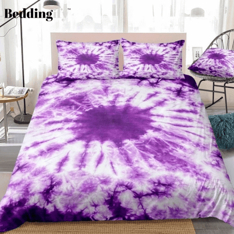 Image of Tie Dye Purple Bedding Set - Beddingify