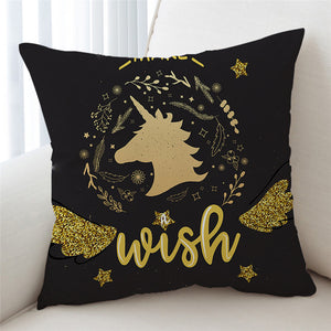 Gold Glitter Wish Unicorn Cushion Cover - Beddingify