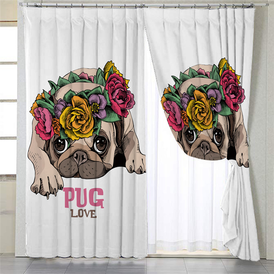 Flower Wreath Pug 2 Panel Curtains