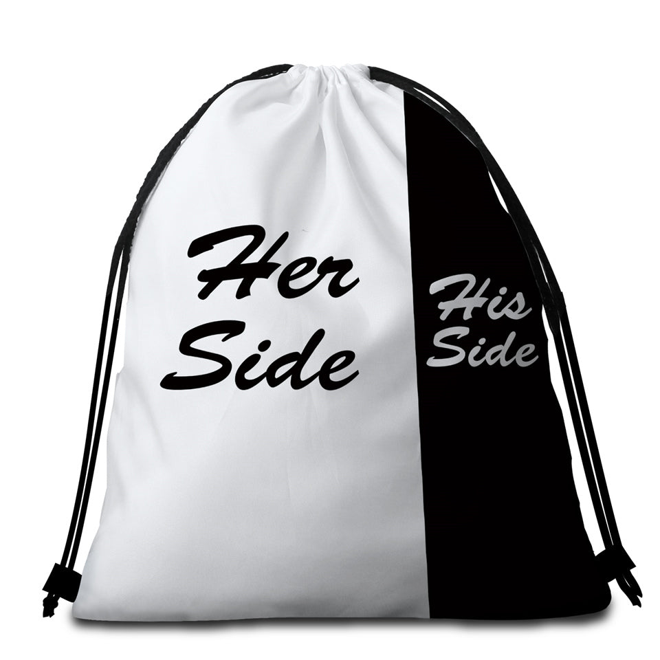 Her Side His Side Round Beach Towel Set - Beddingify