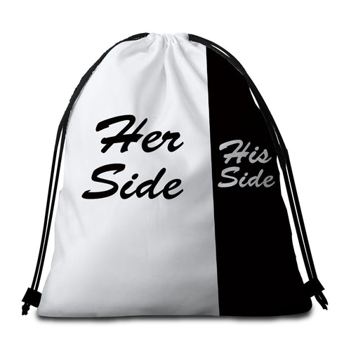 Image of Her Side His Side Round Beach Towel Set - Beddingify