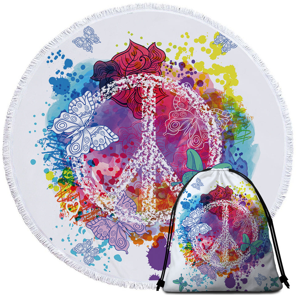 Peace Butterflies Colorful Round Beach Towel Set - Beddingify