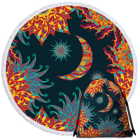 Image of Artistic Moon & Sun Round Beach Towel Set - Beddingify