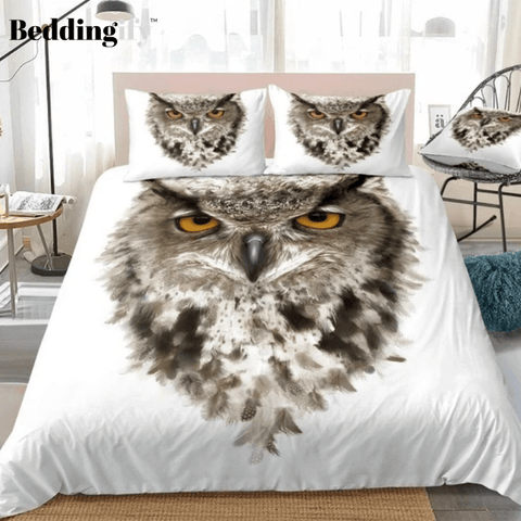 3D Owl with Ears and Yellow Eyes White Bedding Set