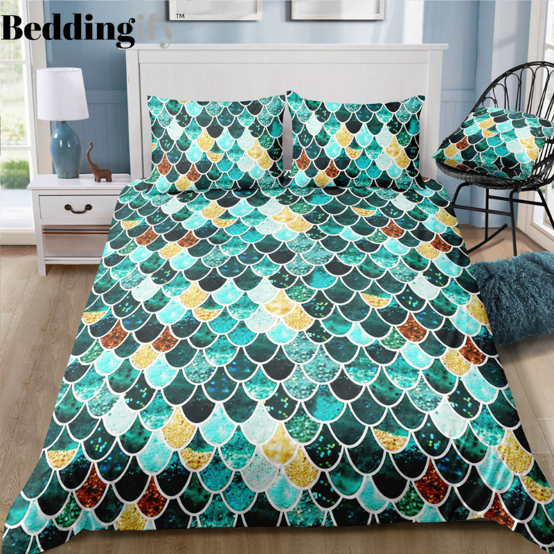 Green Mermaid Scale Bedding Set - Beddingify