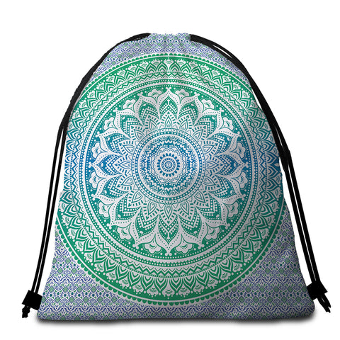 Image of White Mandala Blue Round Beach Towel Set - Beddingify