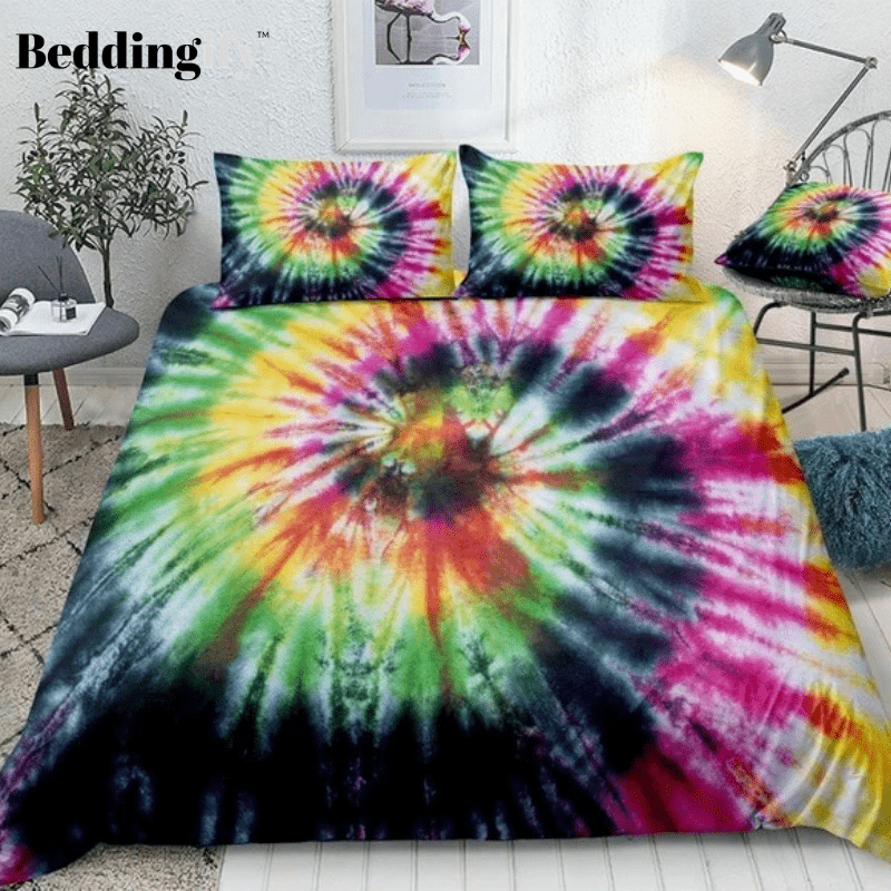 Tie Dyed Yellow Green Bedding Set - Beddingify