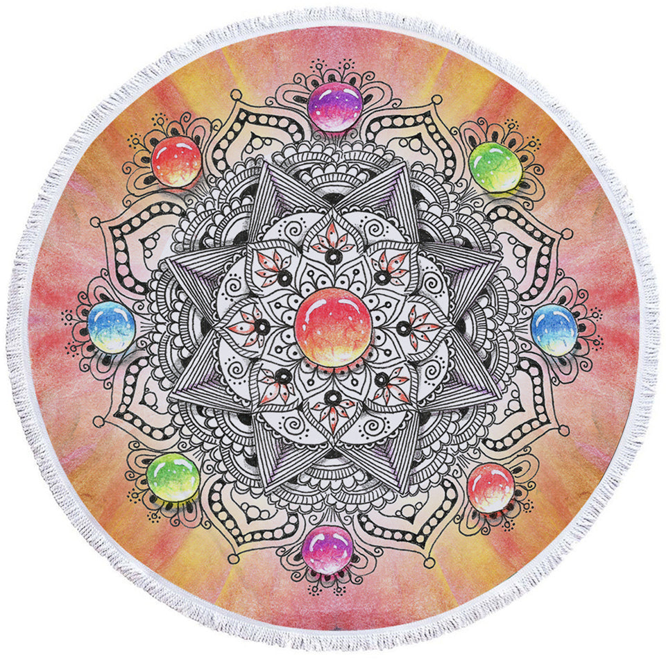 Gemstone Mandala Round Beach Towel Set - Beddingify