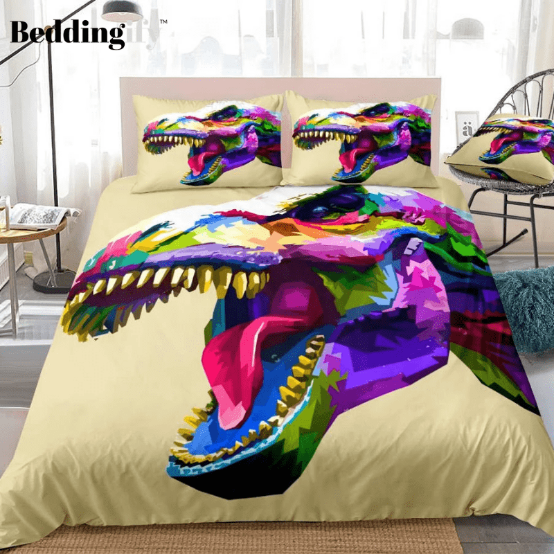 Colorful T-Rex Bedding Set - Beddingify