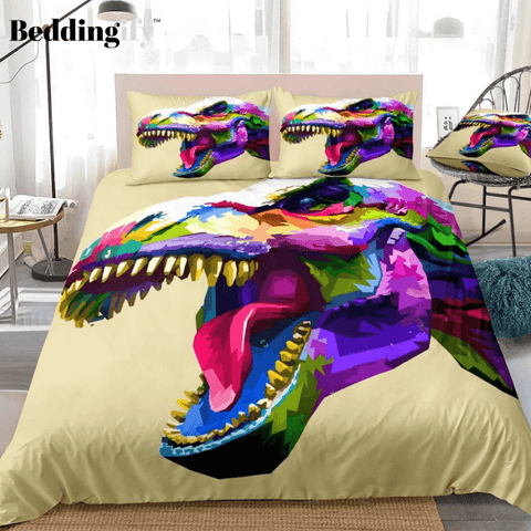 Image of Colorful T-Rex Bedding Set - Beddingify