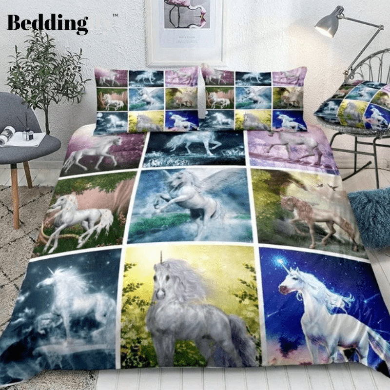 Collage of Unicorns Bedding Set - Beddingify