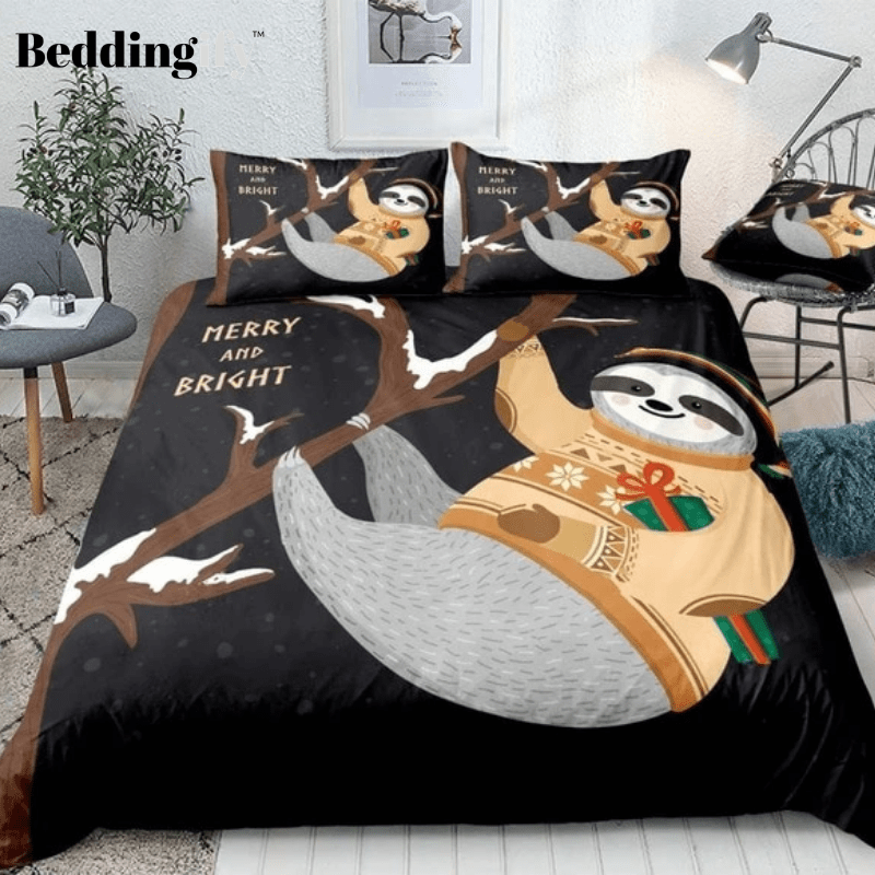 Cute Sloth Handing on Tree and Gift Box Bedding Set - Beddingify