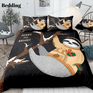 Cute Sloth Handing on Tree and Gift Box Bedding Set