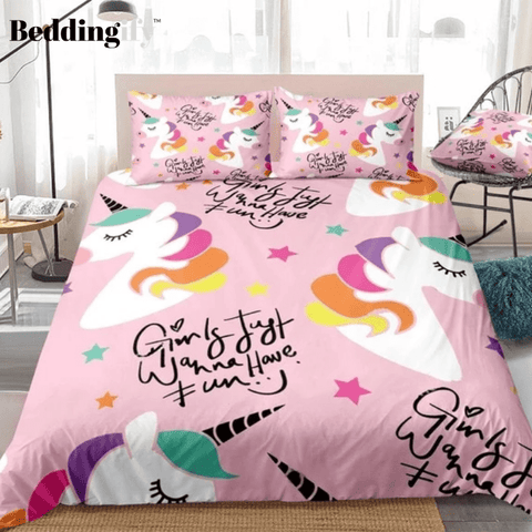Image of Colorful Stars Unicorn Bedding Set - Beddingify