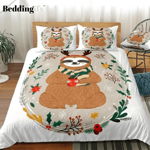 Image of Christmas Sloth In Flowers Branches Bedding Set - Beddingify