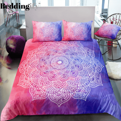 Image of Pink Purple Mandala Pattern Bedding Set - Beddingify