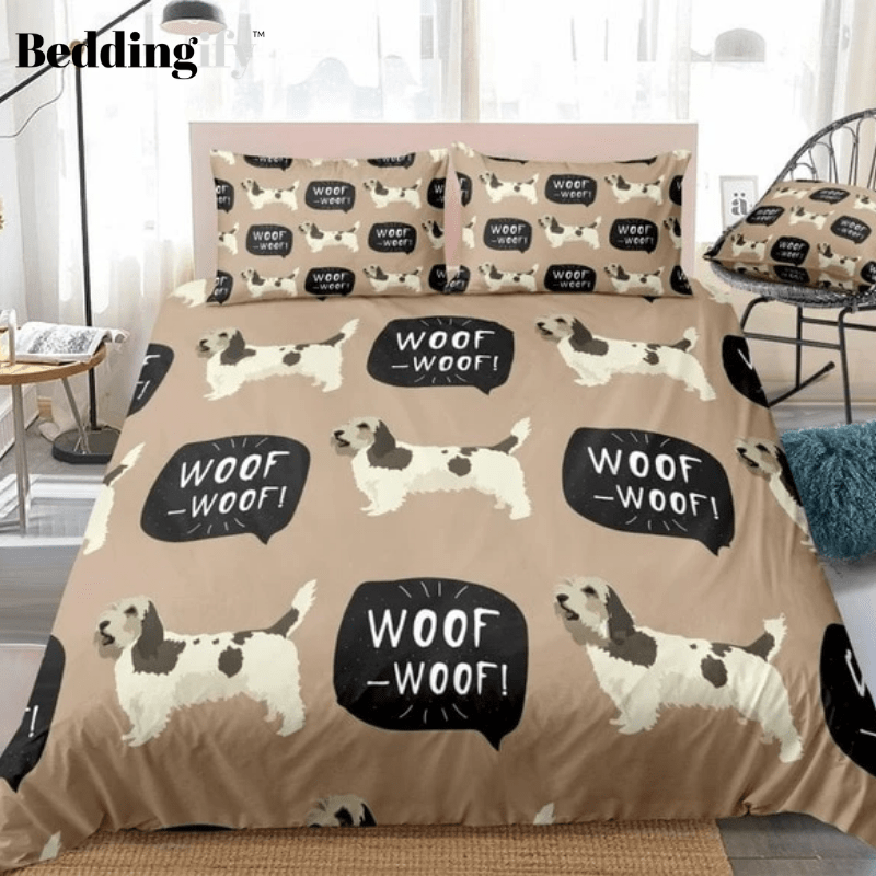 Cartoon Braque Dog Brown Bedding Set - Beddingify