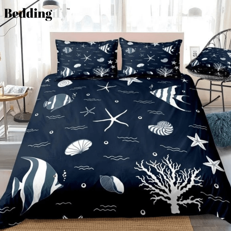 Starfish Ocean Wave Fish Bedding Set - Beddingify