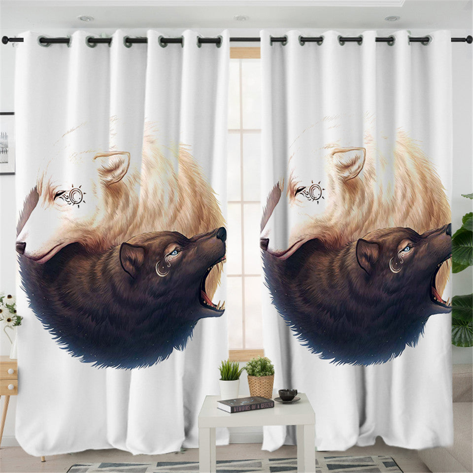 Ying Yang Wolves White 2 Panel Curtains