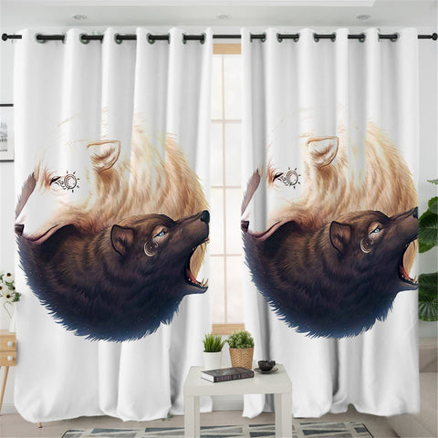 Image of Ying Yang Wolves White 2 Panel Curtains