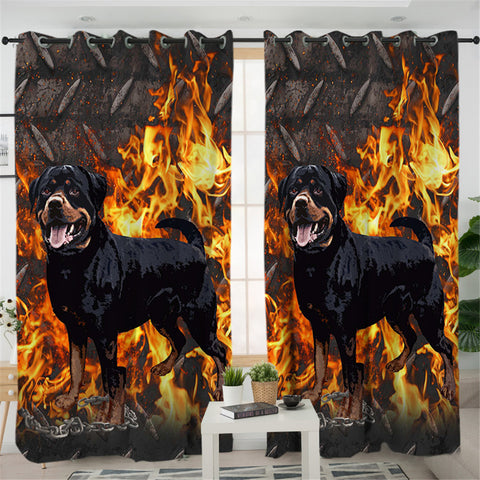 Image of Flame Dog Themed 2 Panel Curtains