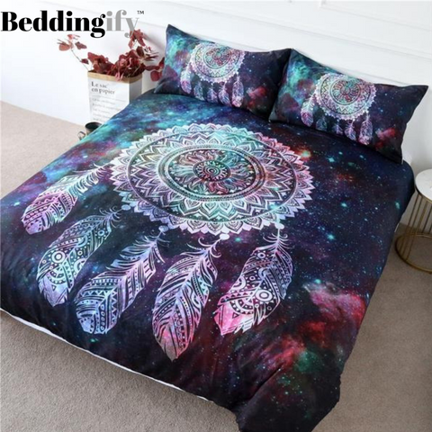 Image of Green Red Nebula Dreamcatcher Bedding Set