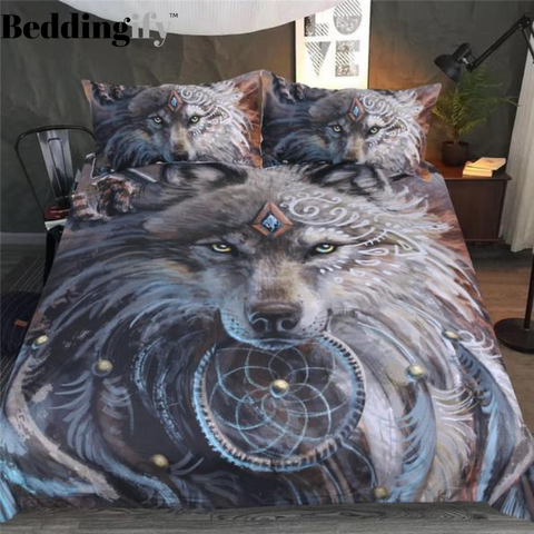 Image of Indian Wolf With Feather Dreamcatcher Comforter Set - Beddingify