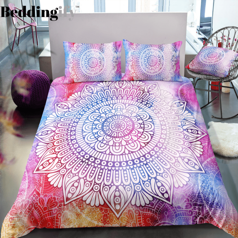 Pink Purple Red Mandala Pattern Bedding Set - Beddingify