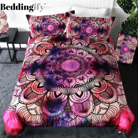 Image of Purple Red Bohemian Floral Bedding Set - Beddingify