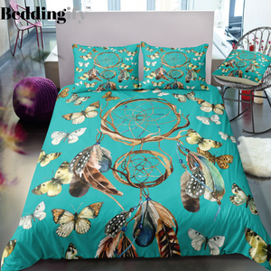 Green Butterflies Dreamcatcher Bedding Set - Beddingify