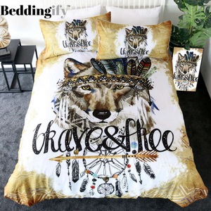 Native Tribal Wolf Bedding Set