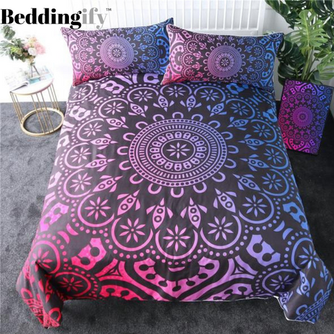 Image of Black Blue Red Mandala Comforter Set - Beddingify